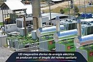 120 megavatios diarios de energía eléctrica se producen con el biogás del relleno sanitario