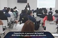 Capacitación al personal del hospital IESS-Quito Sur sobre manejo de desechos