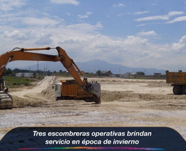 Tres escombreras operativas brindan servicio en época de invierno